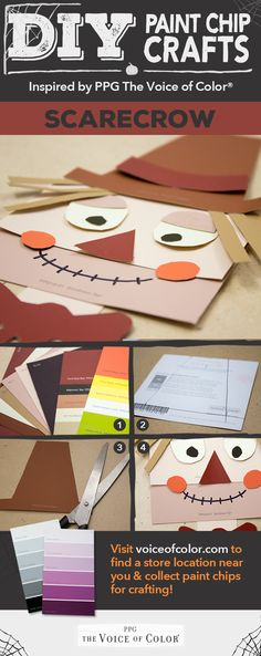 Scarecrow paint chip craft! Halloween Themed Paint Swatch, Paint Chip & Stripe Card DIY Crafts: Create DIY crafts & projects using paint chips, swatches and stripe cards!