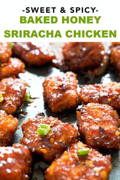 Recipes Asian This Asian inspired Sweet and Spicy Baked Honey Sriracha Chicken takes less than 30 minutes to make and is so much better than take-out! Add rice to make it the perfect, quick and easy weeknight meal, without the extra sodium and calories! Honey Sriracha Chicken, Sweet And Spicy Chicken, Spicy Chicken Recipes, Recipe Chicken, Sriracha Recipes, Spicy Chicken Marinades, Chicken Pieces Recipes, Spicy Baked Chicken, Honey Recipes