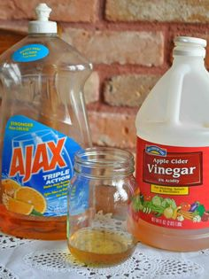Fruit Fly Trap with Apple cider vinegar in a jar and a drop of dish soap to cut the surface tension of the water: 1⁄4 c apple cider vinegar 1⁄2 c boiling water 2 t sugar 1 -2 drop liquid dishwashing soap (not odor eliminating)