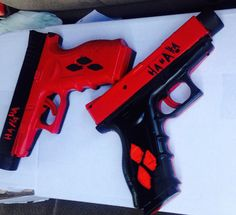 Hand painted pistols for youre Harley Quinn cosplay each order comes with one…
