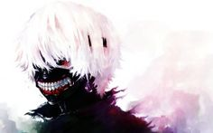 Preview wallpaper tokyo ghoul, kaneki ken, man, mask, red eyes, white hair 3840x2400
