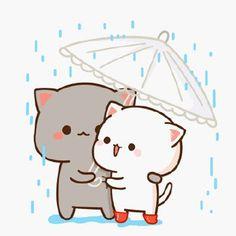 New wall paper cute cat kawaii 59 ideas Cute Couple Cartoon, Cute Love Cartoons, Baby Cartoon, Cat Couple, Cute Anime Cat, Cute Cat Gif, Cute Cats, Cute Bear Drawings, Cute Kawaii Drawings