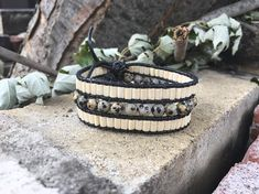 Women black leather Cuff Bracelet, beads and Dalmatian Jasper semi-precious stones. Bracelets, Etsy, Jewelry, Fashion, Black Leather, Stones, Unique Jewelry, Moda, Jewlery