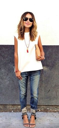 Relaxed straight leg jeans - love the way she is wearing them at the bottom.