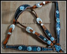 Custom tack set in dark turquoise , bright silver conchos with turquoise and clear swarovski crystals