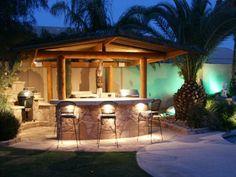 outdoor küchenmöbel garten gartenlaube beleuchtung