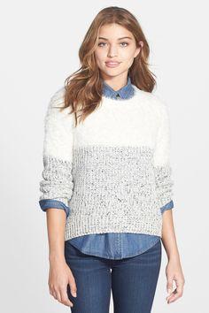 Eyelash Yoke Marled Sweater
