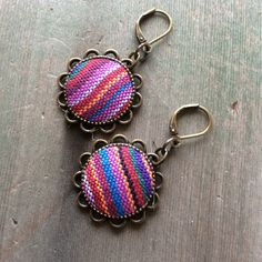 Purple Striped Earrings/Boho/Hippie/Southwestern/Tribal by TheOmbrePoodle on Etsy