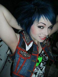 Punk vest, blue haired female punk