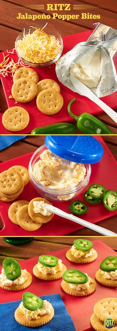 Bring these convenient and easy RITZ cracker Jalapeño Popper Bites for a tasty snack on your next picnic. Start with a Bacon-flavored RITZ cracker. Mix together softened cream cheese and shredded cheddar – spread onto your RITZ and top with a slice of Jalapeno. Enjoy!