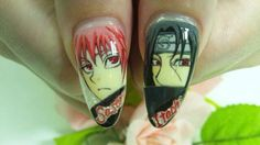 NARUTO : Character nail art Naruto Nails, Anime Nails, Cute Nail Art, Cute Nails, My Nails, Kawaii Cute, Kawaii Anime, Cute Designs, Nail Designs