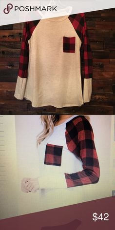 Plaid raglan top Long sleeve round neck red plaid print sleeve raglan top. So comfy -oversized feel. Longer length with rounded hem. More of a cream off white color with red and black plaid. 95% polyester 5 % spandex. 2 smalls (0-4) 2 mediums (4-8) 2 large (10-12) gorilla cat Tops Tees - Long Sleeve