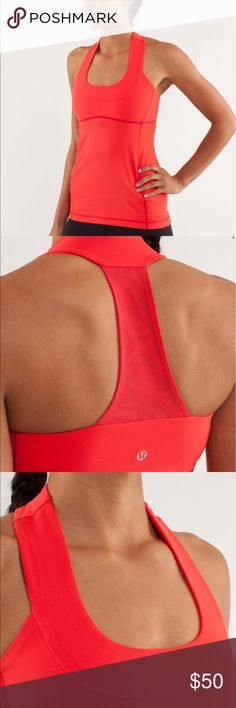 Lululemon Scoop Neck Tank Love Red size 6. RARE Worn a few times. Free Lululemon shopping bag with purchase.designed for: yoga, gym fabric(s): luon®, COOLMAX® properties: moisture-wicking, chafe-resistant, breathable, four-way stretch shelf bra: yes support level: medium coverage: medium fit: body-skimming length: mid-hip lululemon athletica Tops Tank Tops