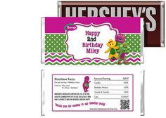 Barney and Friends Birthday Candy Bar Wrappers party favors