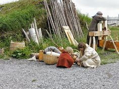 July L'Anse aux Meadows, Nfld. Parks Canada's interpreters did an excellent job of giving us a glimpse into Viking life over a thousand years ago! View the rest of the pics in this series in my Newfoundland Trip set. L'anse Aux Meadows, Viking Reenactment, Viking Life, Parks Canada, Asatru, Newfoundland And Labrador, Anglo Saxon, Archaeological Site, Scandinavian Modern