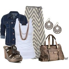 """donna"" by fluffof5 on Polyvore Tan and Cream Chevron Striped Skirt, white tank top, blue jean jacket, brown handbag, earrings, and strappy sandals with heels #cute #outfits #summer"