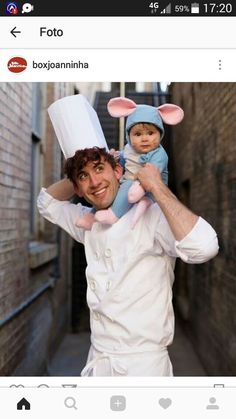 Ratatouille Cute Family Halloween Costume These adorable babies below are rocking the show! Check out the cute baby wearing Halloween costumes. Creative Halloween Costumes, Halloween Outfits, Halloween Kids, Halloween Party, Halloween Ideias, Halloween Costume Couples, Two People Halloween Costumes, Halloween Makeup, Pretty Halloween