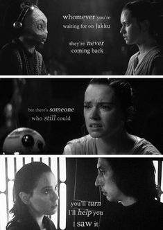 But this is right after her force vision where Kylo cuts down the man standing in front of her trying to hurt her. And I always just kind of got the impression that it wasn't necessarily a vision, but she was more of a third party observer of something that had happened, but now that we've seen TLJ, I think it is him saving her at some point in the future. Maybe from the Knights of Ren?