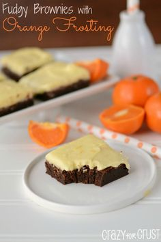 The BEST Fudgy Brownies with Orange Frosting by www.crazyforcrust.com
