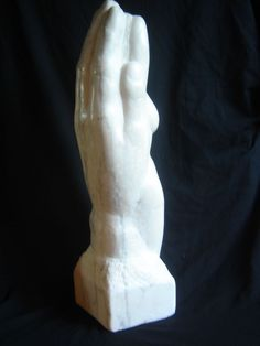 Portuguese Rose #marble #sculpture by #sculptor Michael Hipkins titled: 'In the Palm of your Hand (nude Girl in Hand Carved marble statuette)'. #MichaelHipkins