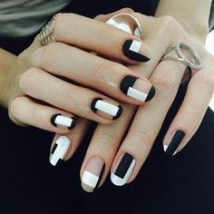 NAIL DESIGN: STRIP! OK, strips. Black & White strips look stunning all year around...except maybe not for Christmas. ;-)