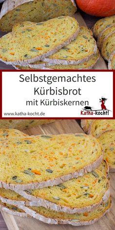Selbstgemachtes Kürbisbrot This pumpkin bread is a super uncomplicated wheat bread with relati Stir Fry Recipes, Bread Recipes, Cake Recipes, Baked Pumpkin, Pumpkin Bread, Good Food, Yummy Food, Pumpkin Dessert, Pain
