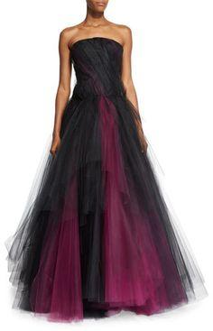 Oscar de la Renta Strapless Two-Tone Tulle Gown - ShopStyle Evening Dresses Cheap Black Prom Dresses, Cheap Prom Dresses Online, Prom Dresses 2017, Dressy Dresses, Strapless Dress Formal, Long Dresses, Fancy Dress, Tulle Ball Gown, Tulle Dress