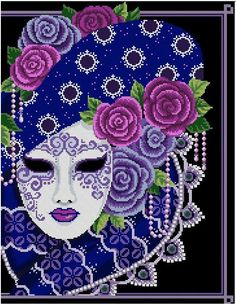 """Purple & periwinkle roses adorn this beautiful magical mask. Stitch Count: 176 width x 225 height Design Size: 12""""w x 15 """"h inches on 14 count Fabric colour: Navy Blue or Black 27 DMC thread colours Pattern have 9 pages, overlaps. Chart have red & black symbols. Cross stitches and"""