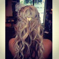 Wedding hair. Curls waves fishtail braids. Hair accessory vintage pin