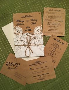 Rustic DIY Wedding Invite with Doilies, Info Card, RSVP, & Menu card.