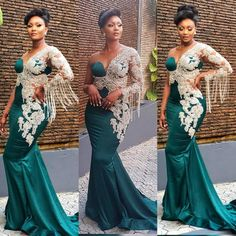 Image may contain: 3 people, people standing and wedding Lace Dress Styles, African Lace Dresses, Latest African Fashion Dresses, African Inspired Fashion, Dress Fashion, African Wedding Attire, African Attire, Dinner Gowns, Evening Gowns