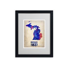 Trademark Global Watercolor State & Date Framed Canvas Wall Art, Multicolor