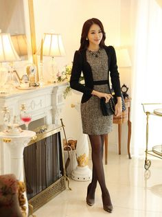 Korean Office Lady Dress Free Worldwide Shipping http://en.thejamy.com/goods.php?id=159710