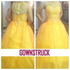 Yellow sunshine Ball Gown - pearl and applique work