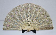 AB112 ANTIQUE FAN. CARVED STICKS. HAND PAINTED TULLE. FRANCE. 19th CENTURY