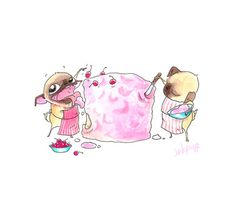 Items similar to Cute Pug Kitchen Art Print - Pug-Baked Cake with Pink Frosting and Cherries on Top - Pug Illustration from InkPug! Pug Zu, Pet Pug, Birthday Pug, Happy Birthday, Cute Pugs, Funny Pugs, Pug Illustration, Pug Cartoon, Pugs And Kisses