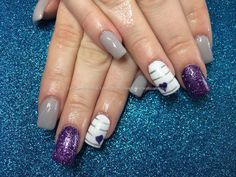 Acrylic nails with purple and grey gel polish
