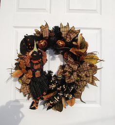 Peekaboo Pumpkin Wreath / Halloween Decor by englishrosedesignsoh, $149.00