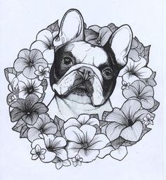 French Bulldog , Summer , Frenchie , Flowers , The dog painter , Jeroen Teunen , Teunen