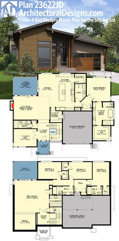 Perfect for your rearsloping lot: Architectural Designs House Plan 23622JD. Over 4,000 sq. ft. with the finished walkout basement. Ready when you are. Where do YOU want to build?