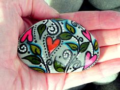 Peaceful Garden / Painted Rock /Sandi Pike by LoveFromCapeCod, $35.00