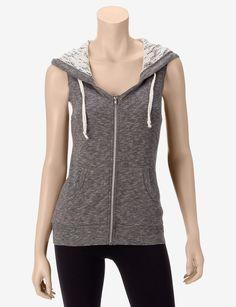 Miss Chevious Grey Crochet Hoodie Vest – Juniors
