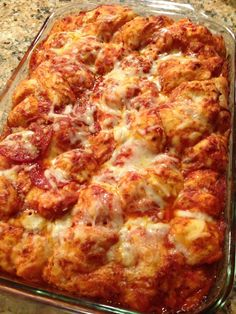 Bubble Up Pizza Casserole | The Cookin Chicks Bake at 375 for 25 min, then turn up to 425, cover with foil and bake for an additional 20 min.