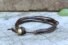 Rocker Leather Bracelet by brasslady on Etsy, $8.00