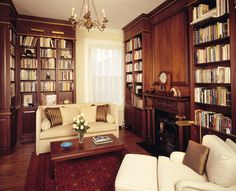 I designed this library for an art school dean and his wife. They were avid readers and art collectors which guided the design process. The rug was acquired in Qatar, the sofa was a custom design scaled to their physical dimensions. Interior Design by Gary Inman.