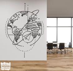 Wall Painting Decor, Mural Wall Art, Office Wall Decor, Room Decor, World Map Decor, Bedroom Wall Designs, Laser Art, Tile Design, Wall Prints