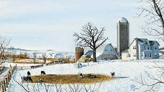 Winter White-Farm Painting by R. Brandt