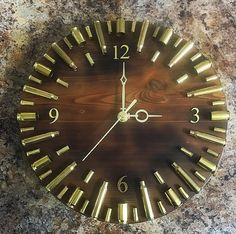 Cedar bullet casing clock - - Cedar bullet casing clock My tries Cedar bullet casing clock Bullet Casing Crafts, Bullet Casing Jewelry, Bullet Crafts, Bullet Art, Bullet Shell, Diy Wood Projects, Woodworking Projects, Shotgun Shell Crafts, Hunting Crafts
