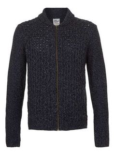 Blue Cable Cardigan - Men's Cardigans & Sweaters  - Clothing