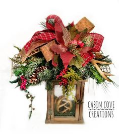 Items similar to Rustic Christmas Lantern Centerpiece Decorated with Deer Antler Ornaments, Holiday Swag Floral Arrangement, by Cabin Cove Creations on Etsy Christmas Lanterns, Christmas Deer, Christmas Wreaths, Christmas Decorations, Woodland Christmas, Holiday Decorating, Southern Living Christmas, Country Christmas, Lantern Centerpieces